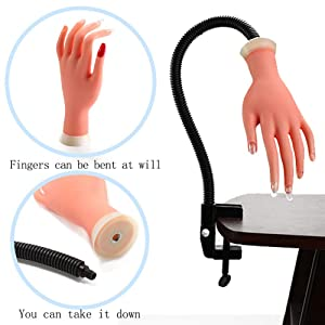 Professional Nail Practice Model Flexible False Hands with Rotating Holder Stand Adjustable Soft Training Display Movable Soft DIY Manicure Tool For Beginners & Students + 250 Pcs Nail Tips (Color: Practice fake hands)