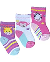 New Born Soft Cotton Rich Baby Girls My First Socks (3 Pair Multi Pack)