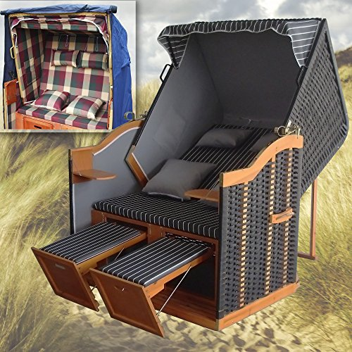 strandkorb anthrazit winterfester strandkorb schutzh lle u 4x kissen polyrattan gartenliege. Black Bedroom Furniture Sets. Home Design Ideas