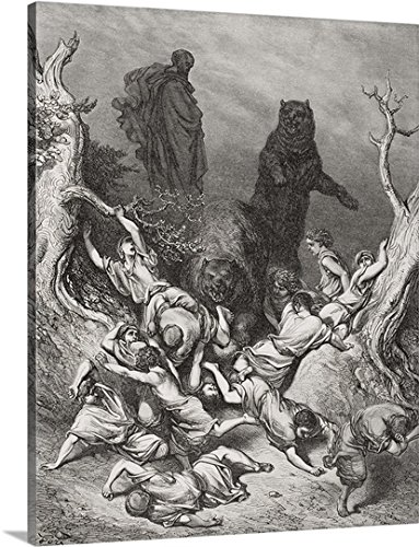 The Children Destroyed by Bears, illustration from Dore's The Holy Bible, 1866 Gallery-Wrapped Canvas