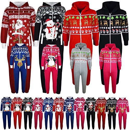 KIDS-GIRLS-BOYS-NOVELTY-CHRISTMAS-SANTA-CLAUS-PENGUIN-SNOWMAN-REINDEER-PRINT-ONESIE-ALL-IN-ONE-JUMPSUIT-NEW-AGE-7-13-YEARS