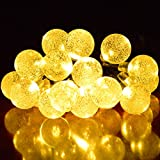 Ucharge Solar Powered Globe Fairy String Lights 30led 20ft Crystal Ball Christmas Globe Lights for Patio - home - garden - holiday - party - wedding - outdoor decorations