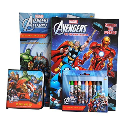 Marvel Avengers Coloring Book, Paint Booklet, Crayons, and Art Set