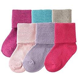 Luvable Friends Basic Cuff Socks 6 Pack, Purple, 12-24 Months