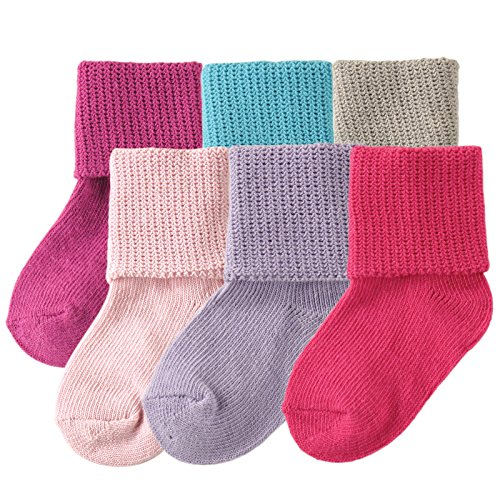 Luvable Friends Basic Cuff Socks 6 Pack, Purple, 12-24 Months