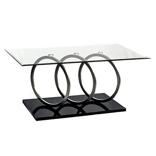 Enjoy Designer Coffee Tables in Your Home or Office. The Black Base and Chrome Rings on This Glass Top Cocktail Table Make a Stunning Statement Anywhere. Its Modern Furniture Design Compliments Your Decor and Impresses Your Guests.