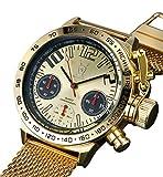 Konigswerk(ケーニヒスベルク) メンズ クロノグラフ 腕時計 ゴールド メッシュバンド ユニークなビッグフェイス (インポート) AQ100122G