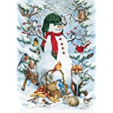 Toland - Woodland Snowman - Decorative Peace Winter Animals Snow Forest USA-Produced Garden Flag