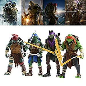 Kibby 2014 New Set of 4 Ninja Turtles Movie Action Figures TMNT Collection Models Moveable Lot Toys 12cm