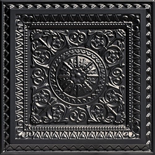 La Scala-Faux Tin Ceiling Tile - Black 25-Pack