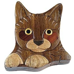in Vietnam Wooden CAT Puzzle Box- Intarsia Wood Art: Home & Kitchen