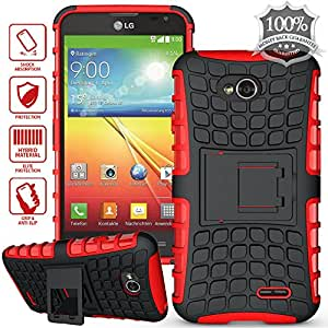 ElBolt TM 3 in 1 Bundle LG Optimus L70 (Metro PCS ) / Optimus Exceed II (Verizon) / Dual D325 / Ultimate 2 (Straight Talk) Armor Grenade Stand Hard Gel Case - Red (Free Ultra-Sensitive Stylus Pen and Premium Screen Protector by BeautyCentral TM)