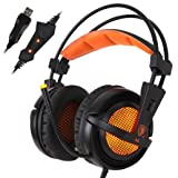 DEESEE(TM) Sades A6 Stereo USB 7.1 Surround Pro Gaming Headphone w/Mic For PC Notebook (orange) (Color: orange)
