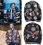 2015コンサート BIGBANG着用 全体的施した  ロゴ 総柄ストリートスタイル!ジップブルゾン 長袖シャツ ユニセックス ダンス HIPHOP 衣装  (M, ブラック)