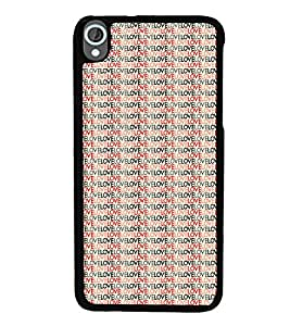 iFasho Animated Pattern With Love writing Back Case Cover for HTC Desire 820