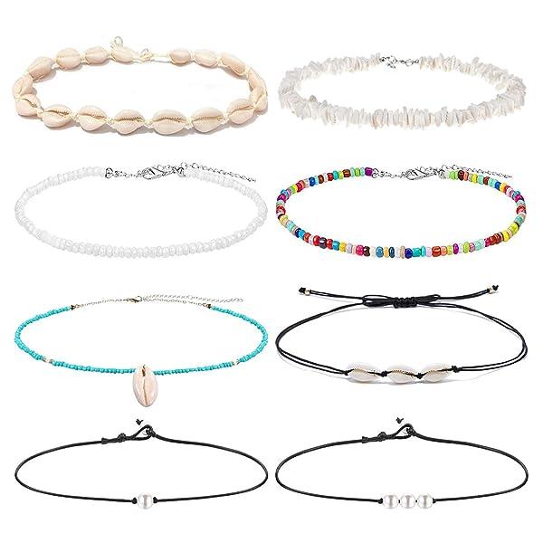 HIIXHC Single Pearl Choker Necklace on Genuine Leather Cord for Women Handmade Choker Jewelry Gift