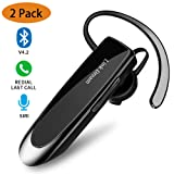 Bluetooth Earpiece- Wireless Bluetooth Headset Noise Cancelling with Mic 24Hrs Talktime Hands-Free 1440Hrs Standby Time Headphones Compatible with iOS/Android Smart Phones, Driver Trucker (2 Pack) (Color: 2 Pack)