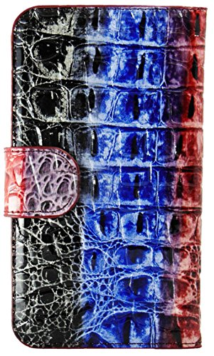 Mylife True Blue + Bright Red And Black Crocodile {Animal Design} Faux Leather (Card, Cash And Id Holder + Magnetic Closing) Slim Wallet For Galaxy Note 3 Smartphone By Samsung (External Textured Synthetic Leather With Magnetic Clip + Internal Secure Snap