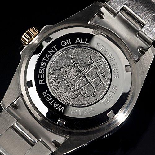 Gigandet Automatik Herren-Armbanduhr Sea Ground Taucheruhr Uhr Datum Analog Edelstahlarmband Blau Gold G2-001 7