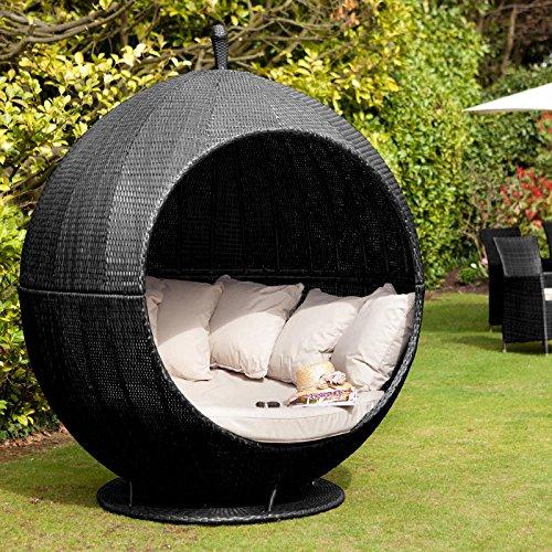Gartenmöbel Rattan Lounge-sofa, Schwarz-apple