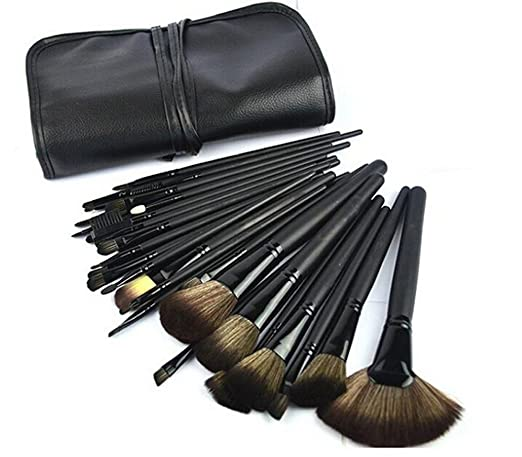 MLM® 32pcs Elegant Professional Useful Makeup Cosmetic Brush Set Tools with Black Leather Case Wool Hair