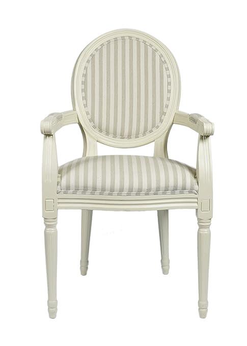 Louis estilo antiguo francés Roundback Sillón Ivory Beige Rayas