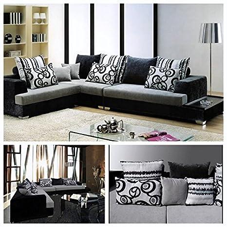 Divano soggiorno angolare 340x210 cm bianco e nero divani sfoderabile cuscini stile moderno