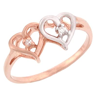 14ct Rose Gold Overlapping Hearts Diamond Promise Ring
