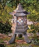 SOLAR PAGODA GARDEN STATUE SCULPTURE LIGHT Lantern Lamp Asian Rustic Zen Tower