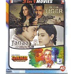 Ek Tha Tiger / Fanaa / Darr (Hindi Film / Bollywood Movie / Indian Cinema 3 in 1 - 100% Orginal DVD Without Subtittle)