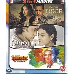 Ek Tha Tiger / Fanaa / Darr (Hindi Film / Bollywood Movie / Indian Cinema 3 in 1 - 100% Orginal DVD Without Subtittle)