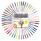 Tanmit Colored Glitter Gel Pens Art Set for Adults Coloring Book - 60 Assorted Colors Pen Office Set Great for Sketching,Drawing,Calligraphy,Writing (0.8-1.0 mm)