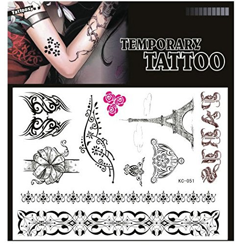 SYZ Beauty Waterproof Temporary Tattoos Pretty Pattern Eiffel Tower Tattoos