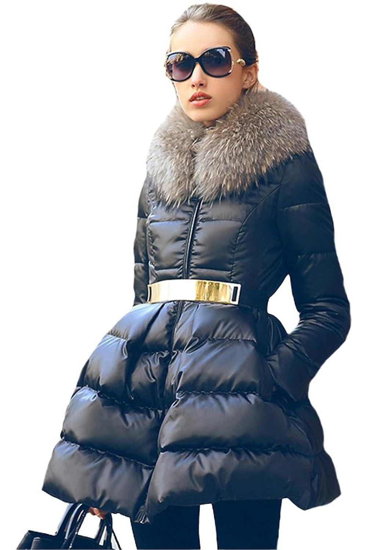 queenshiny Damen Lange Daunenjacke Gänsedaunen Mantel Jacke mit Waschbär Pelz kragen Mode Winter günstig bestellen