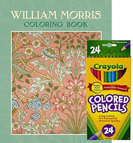 Crayola Colored Pencils Set Of 24 And Pomegranate William Morris Coloring Book Original Art Work Shown In Full Color On The Inside Covers