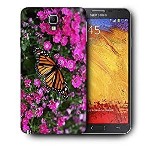 Snoogg Butterfly In Pink Flower Printed Protective Phone Back Case Cover For Samsung Galaxy NOTE 3 NEO / Note III