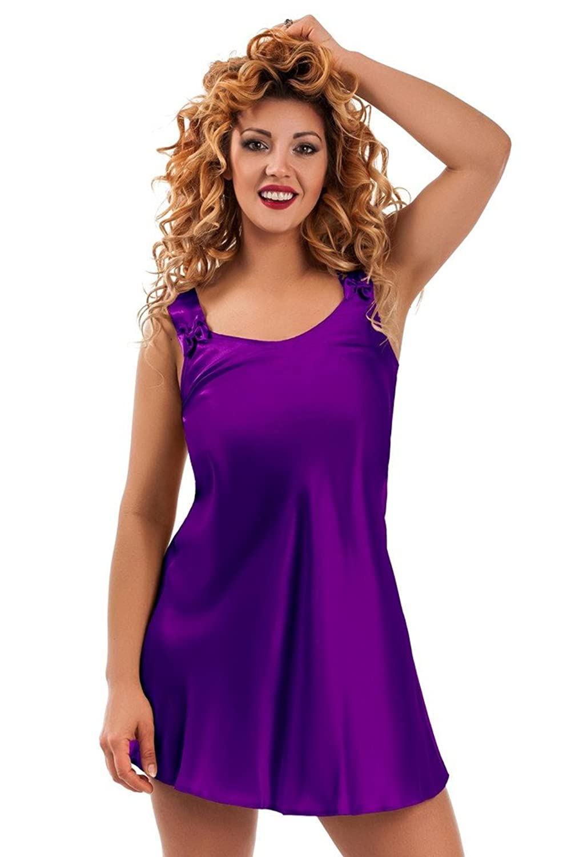 Nine X Satin Babydoll-Nachtkleid S-6XL Plusgröße Nachtwäsche, Viele Farben. Made in EU