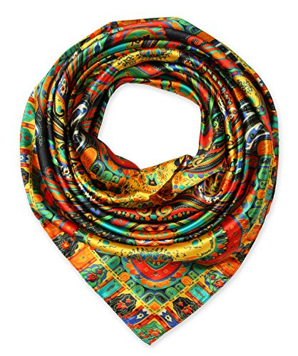 corciova® Totem Silk Like Scarf Shawl Kerchief Bandana Headwear Golden Womens Kerchief