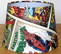 """Marvel Avengers Comic Light shade lampshade Spiderman Thor 9.5"""" Ceiling Pendant Light Shade or Lamp shade DUAL PURPOSE CBL01 by Candy Bottle Lamps UK"""