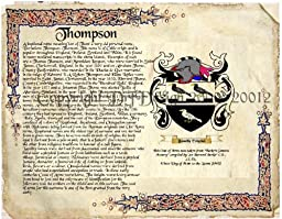 Thompson Coat of Arms/ Family Crest on Fine Paper and Family History Buy 1 get 1 FREE