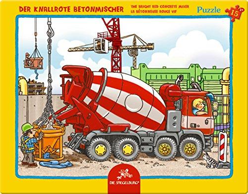 Spiegelburg-12690-Rahmenpuzzle-Der-knallrote-Betonmischer-15-Teile