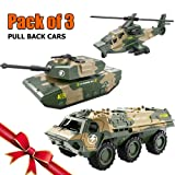 Bootaa 3 Pack Car Toys, Army Toy, Pull Back Vehicles, Tank, Helicopter, Armored Vehicle, Military Vehicles Toys,Pull-Back and Go Cars,Pullback Racing Cars Pack, for Kids/Boys/Toddlers/Baby/Girl (Color: 3 Army Pull Back Cars a)