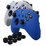 YoRHa Silicone Cover Skin Case for Microsoft Xbox One X & Xbox One S controller x 2(blue&White) With PRO thumb grips x 8 (Color: white+blue, Tamaño: Standard Pack)