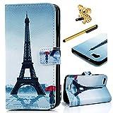 MAXFE.CO Lederhülle Leder Tasche regen Eiffelturm Muster