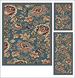 Unique Home Collection Contemporary 3-Piece Deluxe Set: Traditional Rug, Runner & Mat - Assorted Styles (Floral Light Blue)