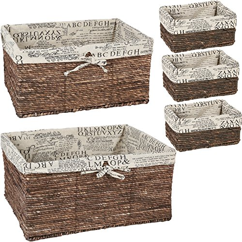 Wicker Home Decorative Storage Organizer Baskets - 5 Piece Set - 3 small at 10.25x6x5, Medium 15.5x12x6.5, Large 17x13.25x7 Inches. (Lined Wicker Basket With Lid compare prices)