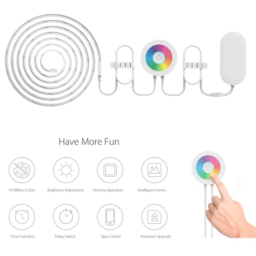 Lombex Smart Wifi LED Light Strip Color Changing RGB Light Strip Rope Multi-Color Dimmable Strips Lighting No Hub Required Works With Alexa Indoor Bedroom Under Cabinet Light(2 Meters)