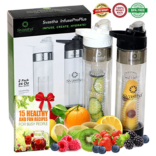 Water Bottle with Fruit Infuser, Bonus 2For1 :: Bottom Infusers :: Flip-Top Lids :: Strong Lightweight Tritan Plastic :: Portable Slim Design :: BPA Free :: Superior Lifetime Peace-of-Mind (24oz x 2) (Mason Jar Water Bottle Pink compare prices)
