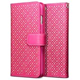 iPhone 6 Plus Case, Terrapin [Pink] [Etched Floral Pattern] Textured PU Leather Wallet Case with Card Slots ID Window Cash Compartment and Detachable Wrist Strap Case for iPhone 6 Plus – Pink
