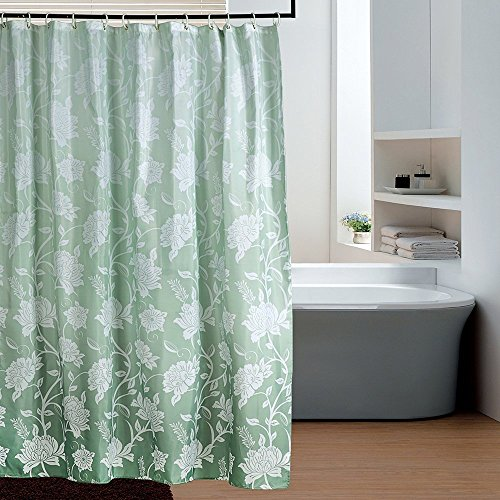 Eforgift Ombre Ivy Pattern Fabric Shower Curtain Polyester Waterproof Mildew Repellent